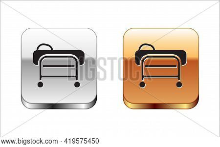 Black Stretcher Icon Isolated On White Background. Patient Hospital Medical Stretcher. Silver And Go
