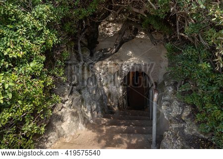 The Entrance To The Excavated And Reconstructed Ancient Burial Caves Of The Sidonian Near The Maresh