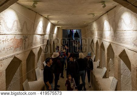 Kiryat Gat, Israel, March 27, 2021 : Numerous Tourists Visiting The Excavated And Reconstructed Anci