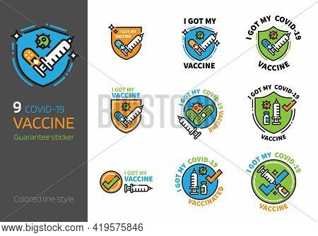 Covid-19 Vaccination Logo Badge Design Colored Line Style. I Got My Corona Virus 2019-ncov Vaccine C