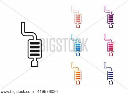 Black Car Muffler Icon Isolated On White Background. Exhaust Pipe. Set Icons Colorful. Vector
