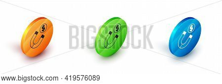 Isometric Magnet With Money Icon Isolated On White Background. Concept Of Attracting Investments. Bi