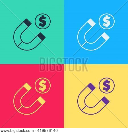 Pop Art Magnet With Money Icon Isolated On Color Background. Concept Of Attracting Investments. Big