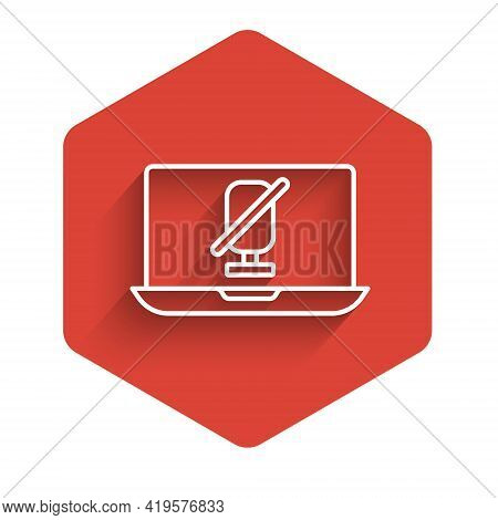 White Line Mute Microphone On Laptop Icon Isolated With Long Shadow. Microphone Audio Muted. Red Hex