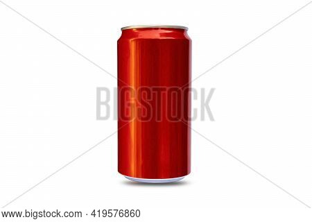 Red Metal Cans For Beer, Alcohol, Juice, Energy Drinks And Soda, Aluminum Metal Isolated On White Ba