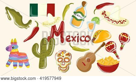Big Vector Set Of Mexico Elements, Skeleton Characters, Animals In Flat Hand Drawn Style Isolated. M
