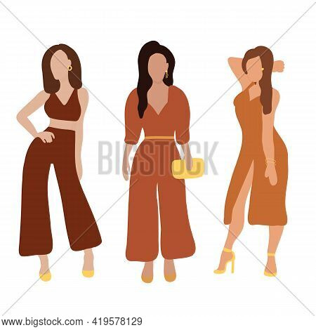 Three Beautiful Women With Different Skin Colors Stand. Group Of Female Friends, Union Of Feminists,