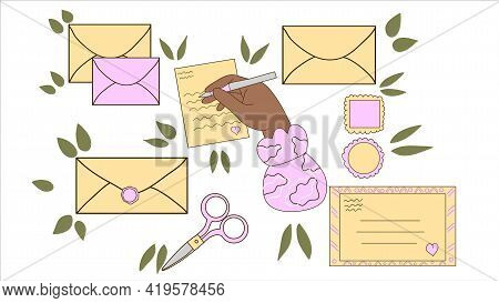 Collection Of Different Envelopes With Mail, Postmarks And Postcards Vector Flat Illustration. Carto