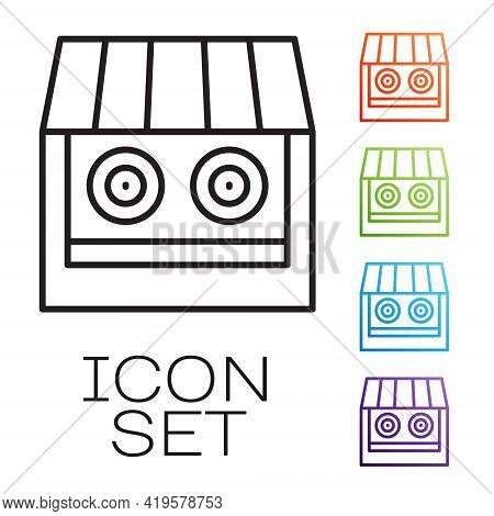 Black Line Shooting Gallery Icon Isolated On White Background. Shooting Range. Set Icons Colorful. V