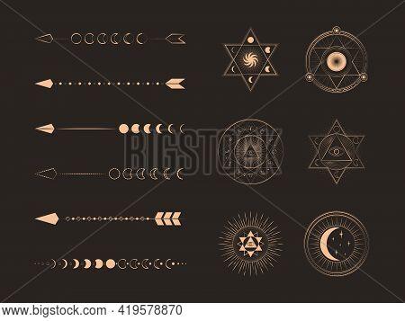 Set Of Alchemy Esoteric Mystical Magic Celestial Icons, Sun, Moon Phases, Stars Magic Symbols With V