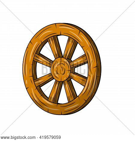Old Wooden Cart Wheels. Brown Detail Of Wagon With Cracks. A Village Vehicle In The Wild West. Hand