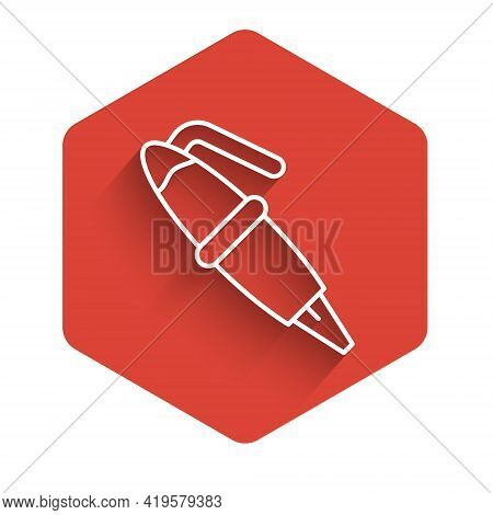 White Line Fountain Pen Nib Icon Isolated With Long Shadow. Pen Tool Sign. Red Hexagon Button. Vecto