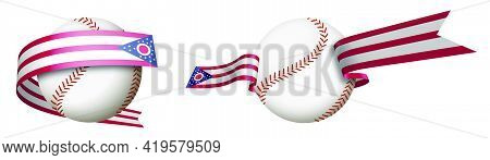Baseball Sport Ball In Ribbons With Colors Of American State Of Ohio. Design Element For Sport Compe