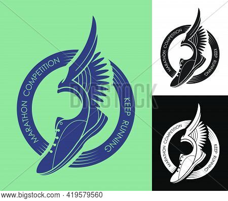 Symbol, Emblem Of Sports Sneaker And Sole, Running Shoes With Wings In Circle Of Ribbons For Competi