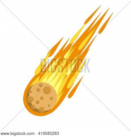 Meteor With Trail Of Fire. Celestial Object. Flying In Sky. Cartoon Flat Illustration. Comet With Ta