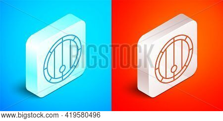 Isometric Line Wooden Barrel Icon Isolated On Blue And Red Background. Alcohol Barrel, Drink Contain