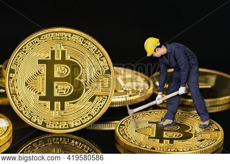 Bitcoin Cryptocurrency Digital Bit Coin Btc Currency Concept ,bitcoin Mining Worker Holding Mattock
