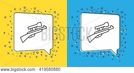 Set Line Sniper Rifle With Scope Icon Isolated On Yellow And Blue Background. Vector