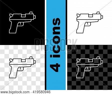 Set Line Pistol Or Gun Icon Isolated On Black And White, Transparent Background. Police Or Military