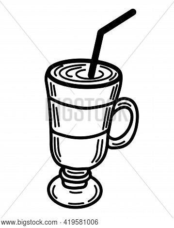 Isolated Coffee Latte Vector For Coloring Book Or Page