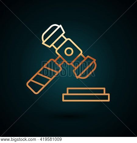 Gold Line Judge Gavel Icon Isolated On Dark Blue Background. Gavel For Adjudication Of Sentences And