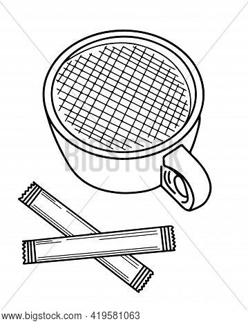Isolated Cup Of Coffee With Sugar Vector For Coloring Book Or Page