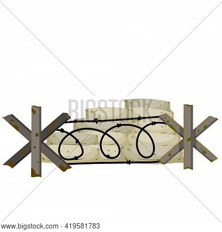 Military Barricade Of Sandbags. Fortified Firing Point. Defense Construction. Modern Warfare. The Wa
