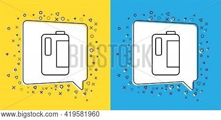 Set Line Plastic Bottle With Handle For Milk Icon Isolated On Yellow And Blue Background. Gallon Of