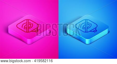 Isometric Line Blindness Icon Isolated On Pink And Blue Background. Blind Sign. Square Button. Vecto