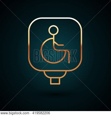 Gold Line Disabled Wheelchair Icon Isolated On Dark Blue Background. Disabled Handicap Sign. Vector