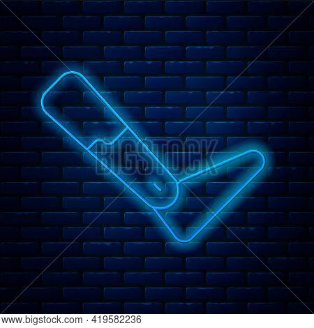 Glowing Neon Line Prosthesis Leg Icon Isolated On Brick Wall Background. Futuristic Concept Of Bioni