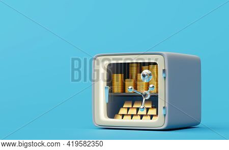 Safe Box With Tempered Glass Door In Blue Background ,business Banking Concept ,3d Illustration Or 3
