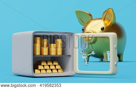 Safe Box With Tempered Glass Door And Gold Piggy Bank In Blue Background ,business Banking Concept ,