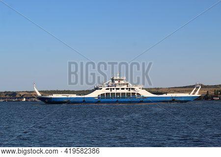 Kerch, Crimea - June 24, 2018 :beautiful Blue Ferry Across The Kerch Strait