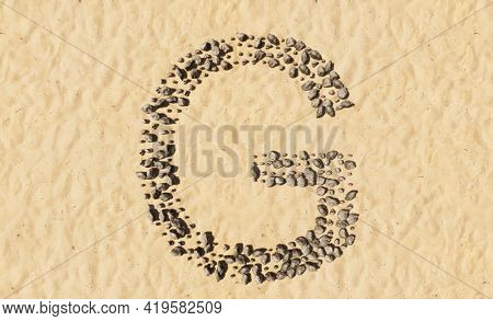 Concept or conceptual stones on beach sand handmade symbol shape, golden sandy background, sign of G. 3d illustration metaphor for education, nature, summer, sunny, seaside and tropical