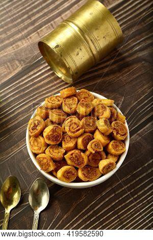Bowl Of Delicious Indian Savory Snack, Bakarwadi.