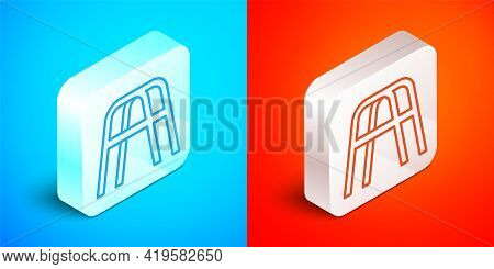 Isometric Line Walker For Disabled Person Icon Isolated On Blue And Red Background. Silver Square Bu