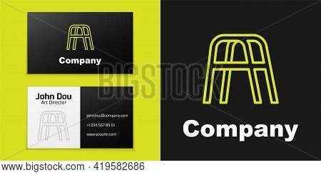 Logotype Line Walker For Disabled Person Icon Isolated On Black Background. Logo Design Template Ele
