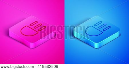Isometric Line High Beam Icon Isolated On Pink And Blue Background. Car Headlight. Square Button. Ve