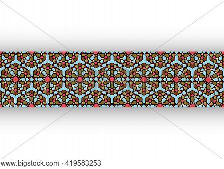 Seamless Islamic Pattern, Border Frame Art Persian Motif. Ramadan Banner Arabic Mosaic Colorful Elem