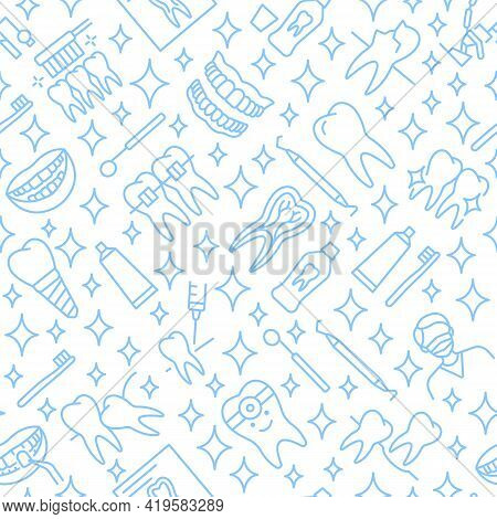 Dentistry Seamless Pattern With Flat Line Icons Blue Color. Background For Dental Clinics Disign