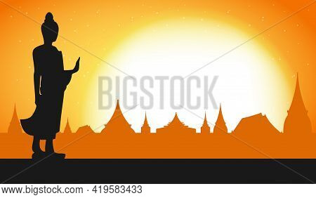Happy Vesak Day With Buddha Standing Under Bodhi Tree On Full Moon Night, Buddha Purnima In Visakha