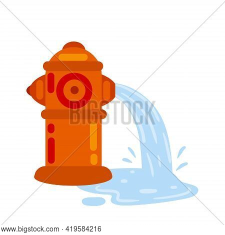 Fire Hydrant. Flat Cartoon Illustration. Red Icon Of Fire Fighting Tool. Jet Of Water. Leak And Pudd