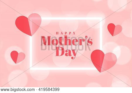 Mothers Day Event Card With Hearts Vector Template Design
