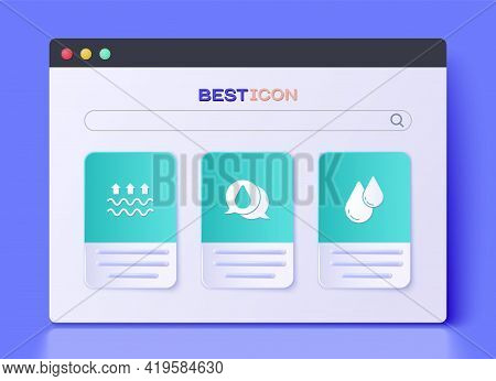 Set Water Drop, Waves Of Water And Evaporation And Icon. Vector