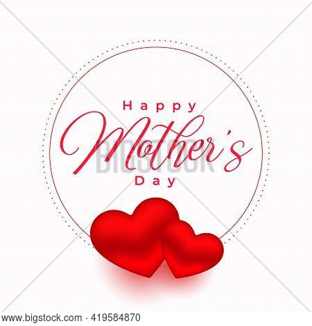 Mothers Day Red Hearts Poster Background Vector Template Design