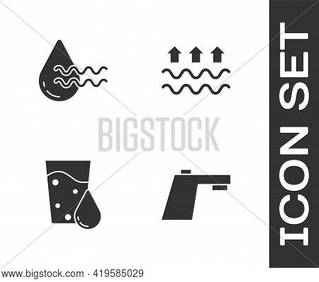 Set Water Tap, Recycle Clean Aqua, Glass With Water And Waves Of And Evaporation Icon. Vector