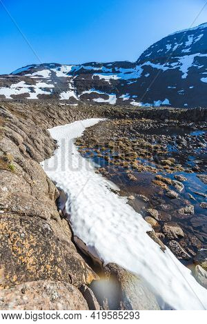 Snow And Melt Water On Putorana Plateau, Taimyr. Russia, Krasnoyarsk Region