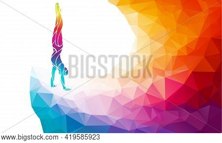 Male Gymnast In Artistic Gymnastics Color Vector Clipart