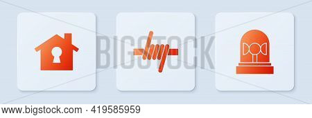 Set Barbed Wire, House Under Protection And Flasher Siren. White Square Button. Vector